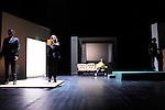 DANCE IS A DIRTY JOB..BUT SOMEBODY'S GOT TO DO IT..texte et mise en scene : Scali Delpeyrat..assisté de Anouck Hilbey..Scenographie : Sarah Lefevre ..Musique : Clement Landais..Choregraphie : Mathieu Calmelet et Anouck Hilbey..Lumieres : Lais Foulc..Costumes : Olivier Beriot ..Jeu et chant : Elizabeth Mazev, Scali Delpeyrat..Danse : Mathieu Calmelet..Basse electrique, Claviers : Clement Landais..Cadre : ..Lieu: Théâtre des Abbesses..Ville : Paris..le 22/09/2011..© Laurent Paillier / photosdedanse.com..All rights reserved