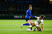 TACOMA, WA - OCTOBER 17: Morgan Andrews #12 of the OL Reign and Gaby Vincent #14 of Utah Royals FC battle for the ball during a game between Utah Royals FC and OL Reign at Cheney Stadium on October 17, 2020 in Tacoma, Washington.