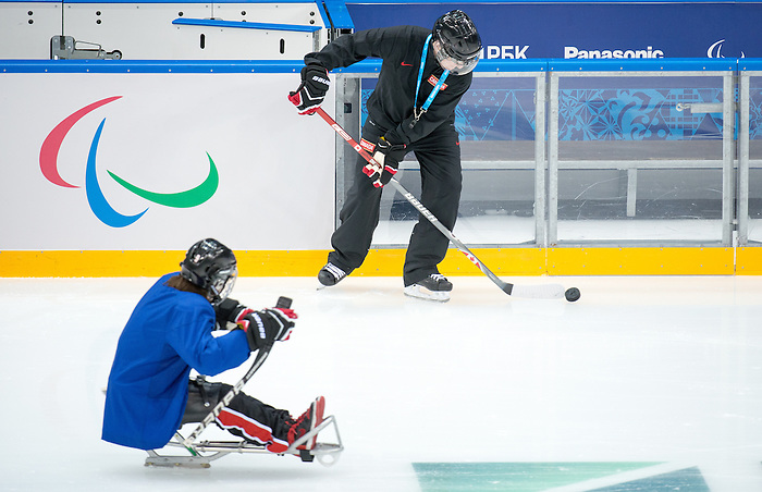 Mike Mondin, Sochi 2014 - Para Ice Hockey // Para-hockey sur glace.<br /> Canada's Para Ice Hockey team practices before the games begin // L'équipe canadienne de para hockey sur glace s'entraîne avant le début des matchs. 01/03/2014.