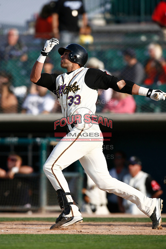 May 19  2007: Aaron Bates of the Lancaster JetHawks bats against the Lake Elsinore Storm at Clear Channel Stadium in Lancaster,CA.  Photo by Larry Goren/Four Seam Images