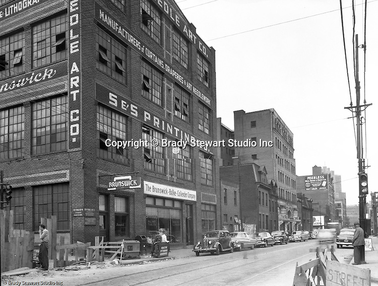 Pittsburgh PA:  View of Forbes Avenues and Stevenson Street in the uptown section of Pittsburgh near Duquesne University.  The assignment was for a developer trying to get some of the buildings condemned so he could get them at a good price for future development.