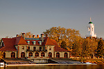 Weld Boat House and the Eliot House cupola, Cambridge, Greater Boston, MA