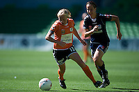 MELBOURNE, AUSTRALIA - DECEMBER 4: Tameka Butt of the Roar in action during round 5 of the Westfield W-league match between Melbourne Victory and Brisbane Roar on 4 December 2010 at AAMI Park in Melbourne, Australia. (Photo Sydney Low / asteriskimages.com)