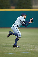 Conor Grammes (4) of the Xavier Musketeers catches a ball against the Penn State Nittany Lions at Coleman Field at the USA Baseball National Training Center on February 25, 2017 in Cary, North Carolina. The Musketeers defeated the Nittany Lions 10-4 in game one of a double header. (Brian Westerholt/Four Seam Images)