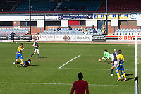 3rd April 2021; Dens Park, Dundee, Scotland; Scottish FA Cup Football, Dundee FC versus St Johnstone; Guy Melamed of St Johnstone beats Dundee keeper Legzdins and scores for 1-0 in the 19th minute