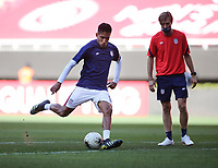 ZAPOPAN, MEXICO - MARCH 21: Jesus Ferreira #9 of the United States shoots the ball during warm ups before a game between Dominican Republic and USMNT U-23 at Estadio Akron on March 21, 2021 in Zapopan, Mexico.