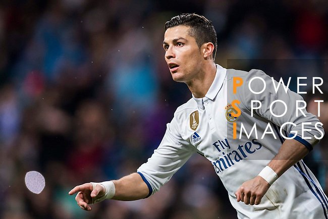 Cristiano Ronaldo of Real Madrid reacts during their La Liga match between Real Madrid and Real Sociedad at the Santiago Bernabeu Stadium on 29 January 2017 in Madrid, Spain. Photo by Diego Gonzalez Souto / Power Sport Images
