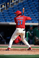 Clearwater Threshers third baseman Zach Green (27) at bat during the first game of a doubleheader against the Daytona Tortugas on July 25, 2017 at Spectrum Field in Clearwater, Florida.  Daytona defeated Clearwater 4-1.  (Mike Janes/Four Seam Images)