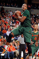 CHARLOTTESVILLE, VA- JANUARY 7: Kenny Kadji #35 of the Miami Hurricanes handles the ball during the game against the Virginia Cavaliers on January 7, 2012 at the John Paul Jones Arena in Charlottesville, Virginia. Virginia defeated Miami 52-51. (Photo by Andrew Shurtleff/Getty Images) *** Local Caption *** Kenny Kadji