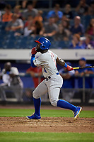 Buffalo Bisons right fielder Roemon Fields (4) breaks up the no-hitter with a base hit during a game against the Syracuse Chiefs on September 2, 2018 at NBT Bank Stadium in Syracuse, New York.  Syracuse defeated Buffalo 4-3.  (Mike Janes/Four Seam Images)