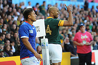 JP Pietersen of South Africa celebrates his hat trick during Match 15 of the Rugby World Cup 2015 between South Africa and Samoa - 26/09/2015 - Villa Park, Birmingham<br /> Mandatory Credit: Rob Munro/Stewart Communications