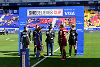 HARRISON, NJ - MARCH 08: Coin toss, Steph Houghton #5 during a game between England and Japan at Red Bull Arena on March 08, 2020 in Harrison, New Jersey.