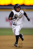 April 14, 2010: Alexi Amarista of the Rancho Cucamonga Quakes during game against the Modesto Nuts at The Epicenter in Rancho Cucamonga,CA.  Photo by Larry Goren/Four Seam Images