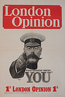 BNPS.co.uk (01202) 558833<br /> Pic: ZacharyCulpin/BNPS<br /> <br /> <br /> An incredibly-rare poster that was the forerunner for the famous 'Your Country Wants You' World War One recruitment advert has been discovered.<br /> The poster, featuring Lord Kitchener pointing his finger, was a news stand advert for an edition of the magazine London Opinion in September 1914.<br /> Officials from the War Office spotted it and decided they wanted the same design for their nationwide recruitment campaign for young men to join the army.
