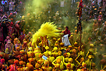 Pictured: Hindu devotees in Nandgaon, Uttarpradesh, India, have been celebrating for a second day as part of this years Lathmar Holi Festival.<br /> <br /> Members of the Hindu faith celebrate Holi every year by throwing coloured powder over one another, which has lead to it often being referred to as the 'festival of colour'.<br /> <br /> Please byline: Avishek Das/Solent News<br /> <br /> © Avishek Das/Solent News & Photo Agency<br /> UK +44 (0) 2380 458800