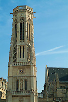 Clockface on the ornate Saint-Germain l'Auxerrois, Paris, France.