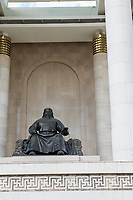 Mongolia, Ulaanbaatar. Sukhbaatar Square, statue of Genghis Khan