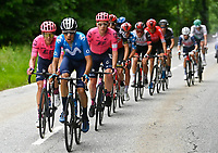 5th June 2021; La Plagne, Tarentaise, France;  ARCAS Jorge (ESP) of MOVISTAR TEAM and CRADDOCK G Lawson (USA) of EF EDUCATION - NIPPO  during stage 7 of the 73th edition of the 2021 Criterium du Dauphine Libere cycling race, a stage of 171km with start in Saint-Martin-Le-Vinoux and finish in La Plagne