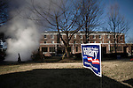 January 25, 2008. Columbia, SC.. Presidential candidate and former 1st lady, Hillary Clinton campaigned today at Benedict College, packing the campus chapel one day ahead of the South Carolina primary.. A campaign sign sits near a steam vent on the Benedict campus.