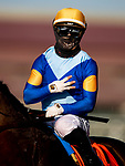 July 10, 2020: Umberto Rispoli celebrates winning 3 races on Opening Day at Del Mar Race Track in Del Mar, California on July 10, 2020. The legendary racetrack dubbed Where The Surf Meets The Turf is facing a temporary suspension of racing after 15 jockeys tested positive for coronavirus this week. Alex Evers/Eclipse Sportswire/CSM