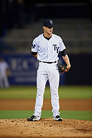 Tampa Yankees relief pitcher Hobie Harris (26) looks in for the sign during a game against the Fort Myers Miracle on April 12, 2017 at George M. Steinbrenner Field in Tampa, Florida.  Tampa defeated Fort Myers 3-2.  (Mike Janes/Four Seam Images)