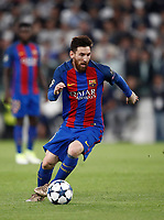 Football Soccer: UEFA Champions UEFA Champions League quarter final first leg Juventus-Barcellona, Juventus stadium, Turin, Italy, April 11, 2017. <br /> Barcellona's Lionel Messi in action during the Uefa Champions League football match between Juventus and Barcelona at the Juventus stadium, on April 11 ,2017.<br /> UPDATE IMAGES PRESS/Isabella Bonotto