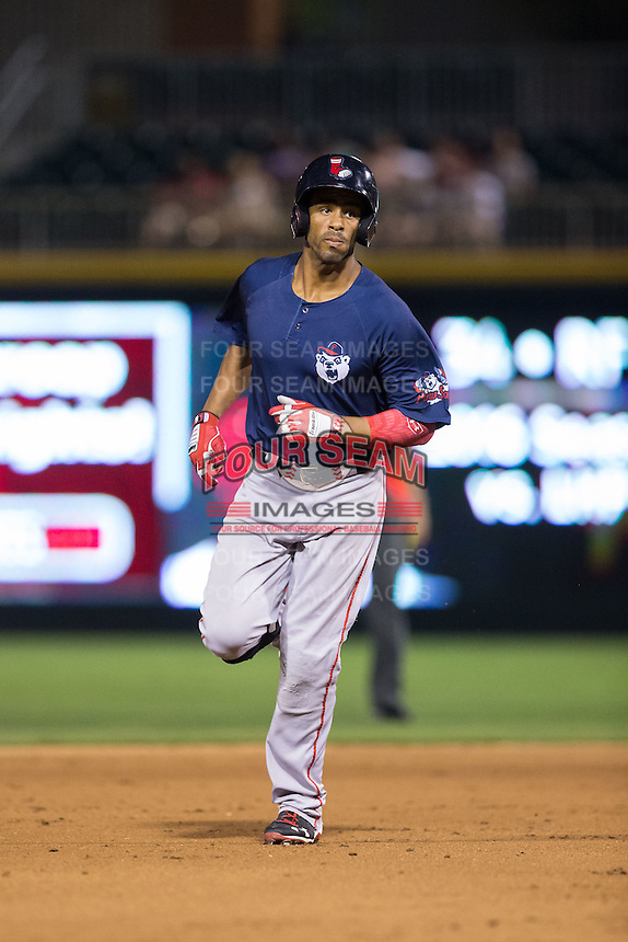 Henry Ramos (34) of the Pawtucket Red Sox rounds the bases after hitting a home run against the Charlotte Knights at BB&T BallPark on July 6, 2016 in Charlotte, North Carolina.  The Knights defeated the Red Sox 8-6.  (Brian Westerholt/Four Seam Images)