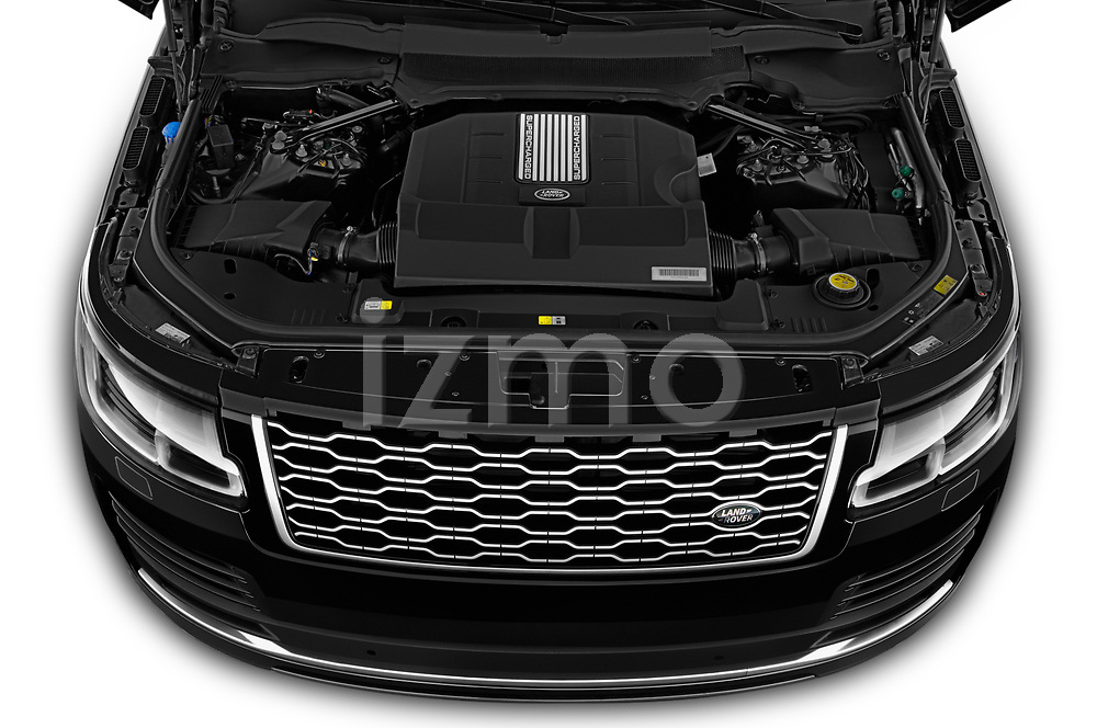 Car Stock 2019 Land Rover Range-Rover HSE 5 Door SUV Engine  high angle detail view