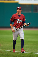 Lehigh Valley IronPigs outfielder Brian Bogusevic (16) warms up before a game against the Rochester Red Wings on May 15, 2015 at Frontier Field in Rochester, New York.  Rochester defeated Lehigh Valley 5-4.  (Mike Janes/Four Seam Images)