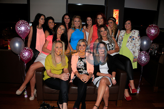 Lizzy o Connor front centre 30th with friends<br /> Picture Fran Caffrey/Newsfile