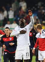 Jozy Altidore salutes U.S. crowd following dramatic win. The United States won Group C of the 2010 FIFA World Cup in dramatic fashion, 1-0, over Algeria in Pretoria's Loftus Versfeld Stadium, Wednesday, June 23rd..