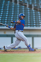 AZL Rangers left fielder Fernando Valdez (46) follows through on his swing during an Arizona League playoff game against the AZL Cubs 1 at Sloan Park on August 29, 2018 in Mesa, Arizona. The AZL Cubs 1 defeated the AZL Rangers 8-7. (Zachary Lucy/Four Seam Images)