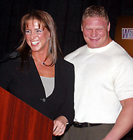 Wrestlemania XIX Press Conference  Stephanie McMahon Kurt Angle  2003                      By John Barrett/PHOTOlink