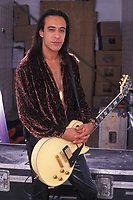**FILE PHOTO** Jeff LaBar Has Passed Away At 58.<br /> <br /> WEST PALM BEACH, FL MAY 24: Jeff LaBar of Cinderella poses for a portrait back sage during the Rock Never Stops Tour at the Mars Music Ampitheatre on May 24, 2002 in West Palm Beach, Florida. <br /> CAP/MPI04<br /> ©MPI04/Capital Pictures