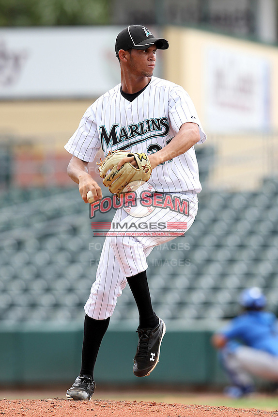 Pitcher Jheyson Manzueta #27 of the Florida Marlins instructional League team during a game against the Italian National Team at the Roger Dean Stadium in Jupiter, Florida;  September 27, 2011.  Italy is training in Florida for the Baseball World Cup.  (Mike Janes/Four Seam Images)