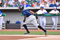 Mississippi Braves third baseman Luis Valenzuela (1) swings at a pitch during a game against the Tennessee Smokies at Smokies Stadium on April 12, 2017 in Kodak, Tennessee. The Braves defeated the Smokies 6-2. (Tony Farlow/Four Seam Images)