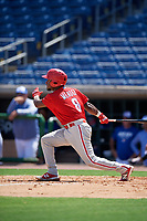 Philadelphia Phillies Juan Mendez (8) at bat during an Instructional League game against the Toronto Blue Jays on September 17, 2019 at Spectrum Field in Clearwater, Florida.  (Mike Janes/Four Seam Images)