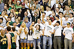 WATERBURY, CT- 02 JAN 2008- 010208JT06-<br /> Holy Cross fans cheer on their team at the end of the third quarter during Wednesday's game at Sacred Heart. Cross remains undefeated, beating Sacred Heart 61-46. <br /> Josalee Thrift / Republican-American