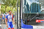 Groupama-FDJ riders outside the team bus before Stage 2 of the Route d'Occitanie 2020, running 174.5km from Carcassone to Cap Découverte, France. 2nd August 2020. <br /> Picture: Colin Flockton | Cyclefile<br /> <br /> All photos usage must carry mandatory copyright credit (© Cyclefile | Colin Flockton)