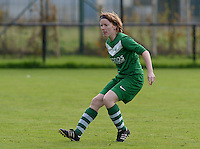 20151024 - ZWEVEZELE , BELGIUM : Emily Van Loon pictured during a soccer match between the women teams of SKV Zwevezele Ladies and KSOC Maria Ter Heide  , during the eight matchday in the Third League - Derde Nationale season, Saturday 24 October 2015 . PHOTO DAVID CATRY