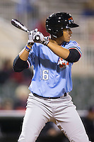 Jose Almonte (16) of the Hickory Crawdads at bat against the Kannapolis Intimidators at Kannapolis Intimidators Stadium on April 9, 2016 in Kannapolis, North Carolina.  The Crawdads defeated the Intimidators 6-1 in 10 innings.  (Brian Westerholt/Four Seam Images)