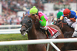 Trix In The City with Shawm Bridgmohan win the $75,000 De La Rose Stakes for fillies and mares, 3 year old & up, 1 mile on the inner turf at Saratoga Racetrack. Trainer Richard Violette, Jr.  Owner Patsy Symons