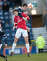 Deveronvale's Magnus Barclay and Raith's Grant Anderson challenge for the ball ...