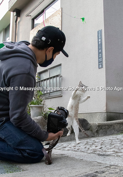 Pictured:  REVEAL:  Showing how Masayoshi Yamamoto gets his photos.<br /> <br /> Leaping cats are pictured in hilarious poses as they play with a photographer.  The excitable felines spring up in the air with their arms outstretched as they try and play with a toy.<br /> <br /> 41 year old Japanese photographer Masayoshi Yamamoto travels around his home country taking pictures of stray cats in these unusual poses.  SEE OUR COPY FOR DETAILS.<br /> <br /> Please byline: Masayoshi Yamamoto/Solent News<br /> <br /> © Masayoshi Yamamoto/Solent News & Photo Agency<br /> UK +44 (0) 2380 458800
