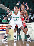 North Texas Mean Green forward Ash'Lynne Evans (1) in action during the NCAA Women's basketball game between the Arkansas State Red Wolves and the University of North Texas Mean Green at the North Texas Coliseum,the Super Pit, in Denton, Texas. Arkansas State defeated UNT 62 to 59