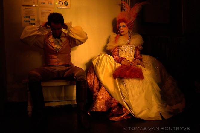 Roxan Le Texier, right, in preparation for her role as Marie-Antoinette behind the scenes, backstage at the musical, 1789 Les Amants de la Bastille, in Paris, France on November 8, 2012.