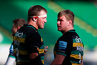 13th March 2021; Franklin's Gardens, Northampton, East Midlands, England; Premiership Rugby Union, Northampton Saints versus Sale Sharks; Alex Waller of Northampton Saints chat during a break in action