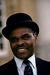 Bulldog security man at Oxford university wearing traditional bowler hat he acts as security Christ Church College  1995 1990s UK