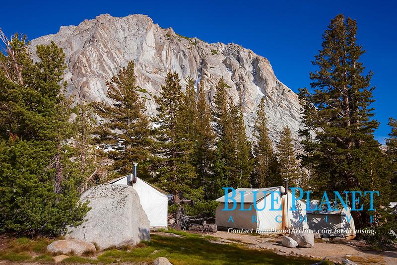Fletcher Peak (11407') rises above Vogelsang High Sierra Camp, in Yosemite's high country, Yosemite National Park, California, USA
