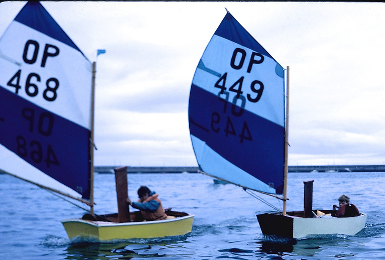 Early days. John Lavery (right) racing Optimists at the National YC in 1967.